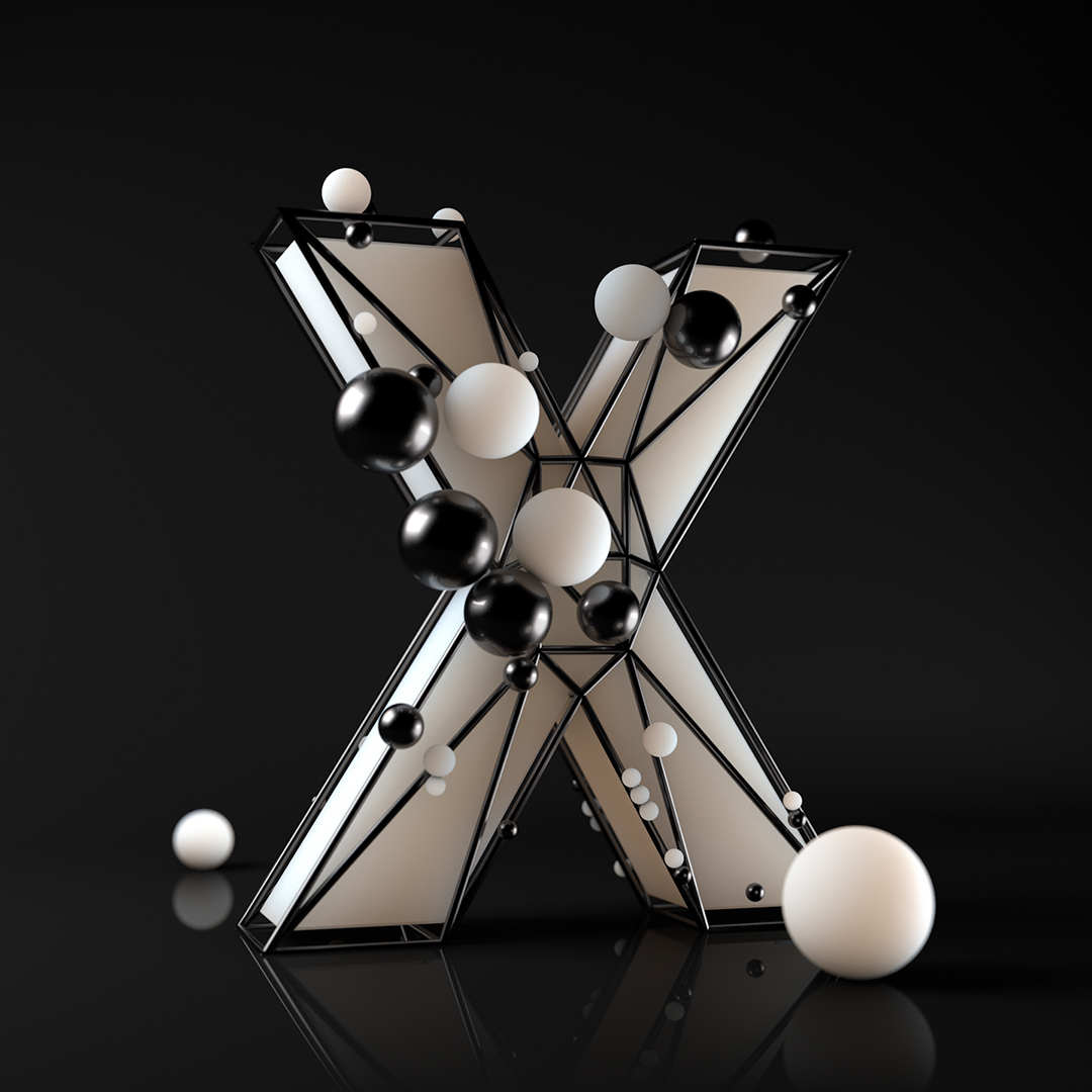 The letter X trap in cage with 3d balls