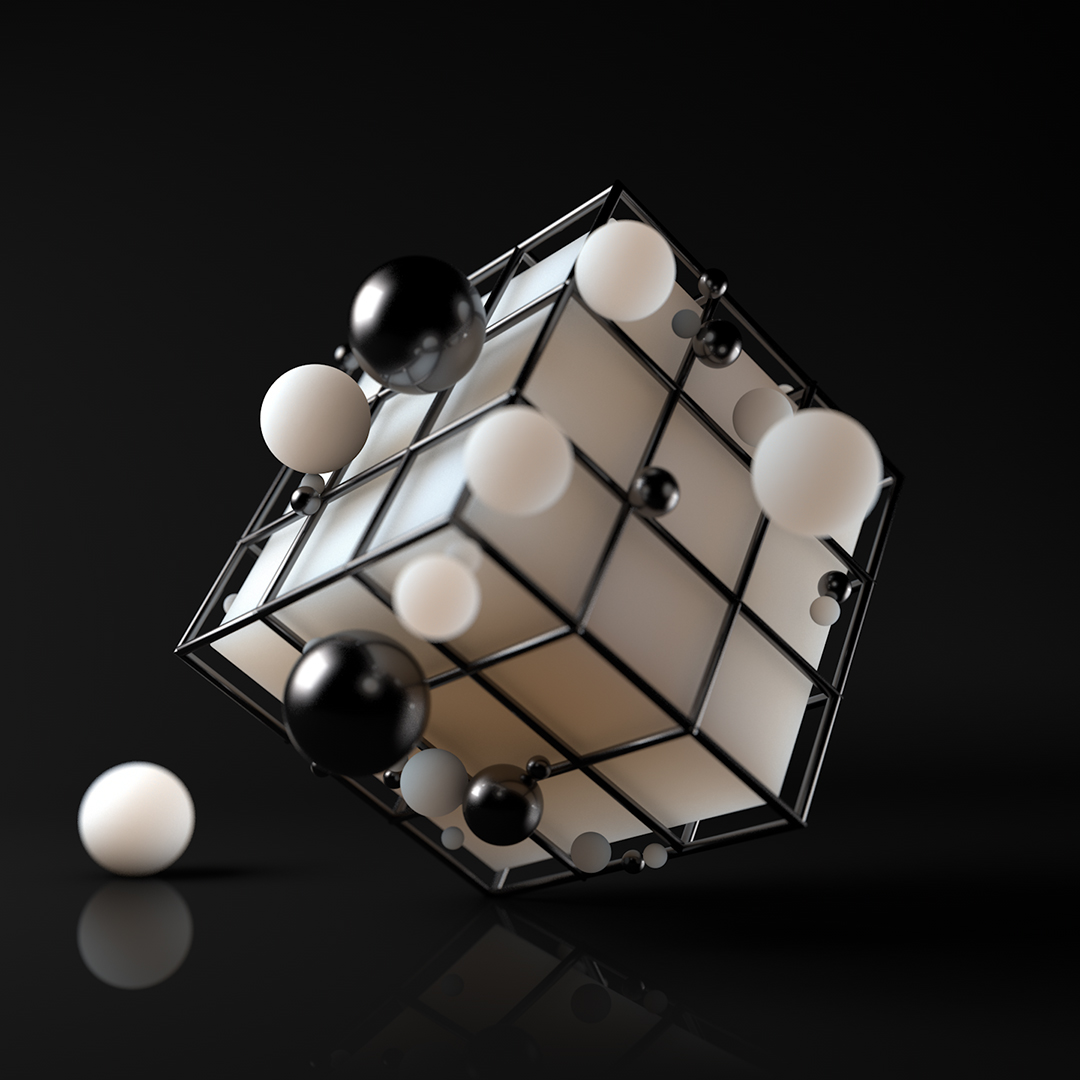 Cube inside cage trap. With 3d balls